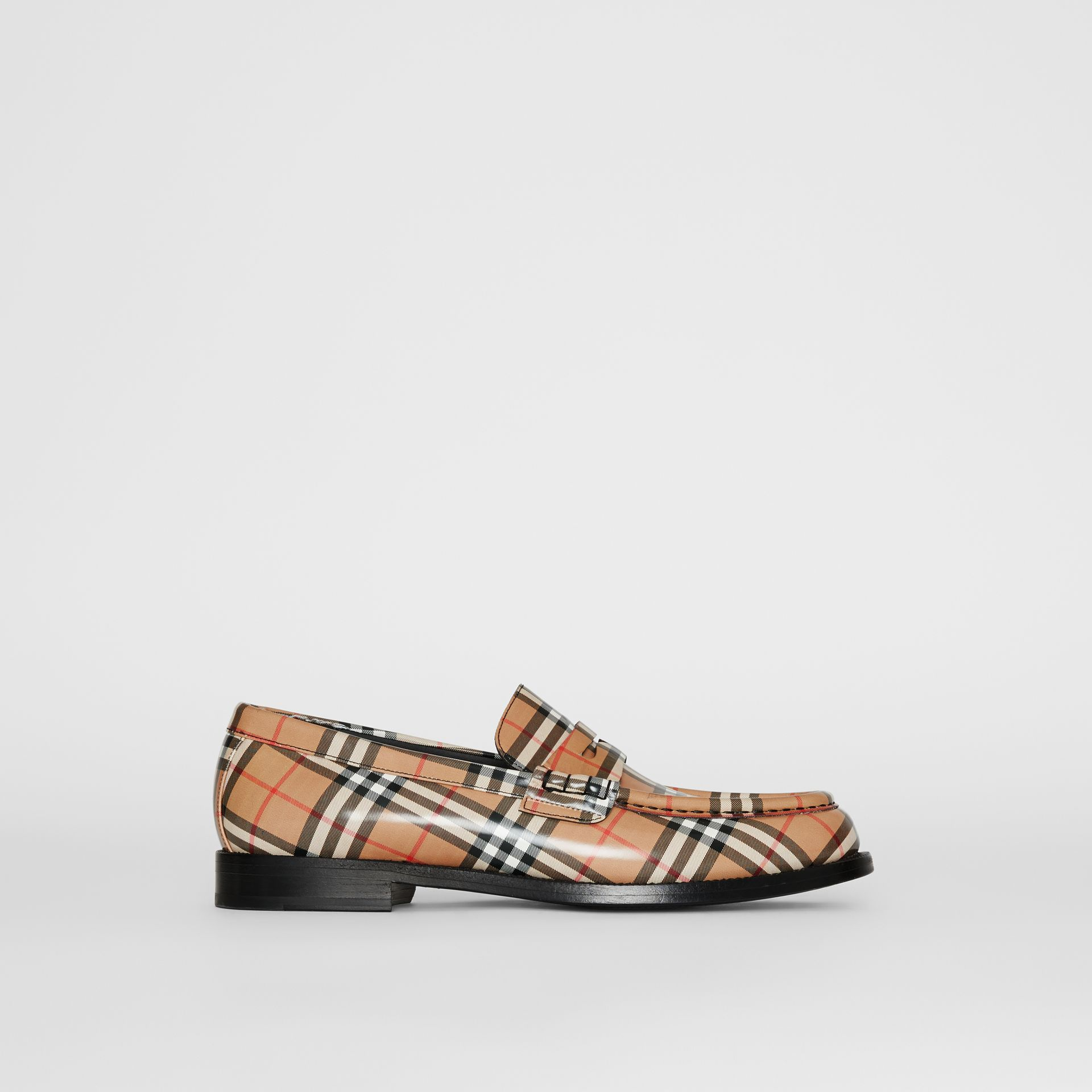 Gosha x Burberry Check Leather Loafers in Antique Yellow - Men | Burberry Australia - gallery image 3