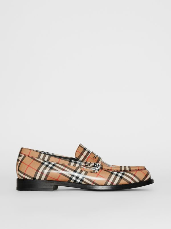 Gosha x Burberry Check Leather Loafers in Antique Yellow - Men | Burberry Australia - cell image 3