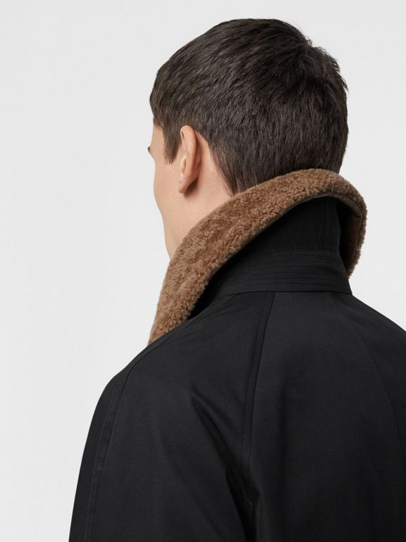 Contrast Shearling Collar Cotton Car Coat in Black - Men | Burberry - cell image 1