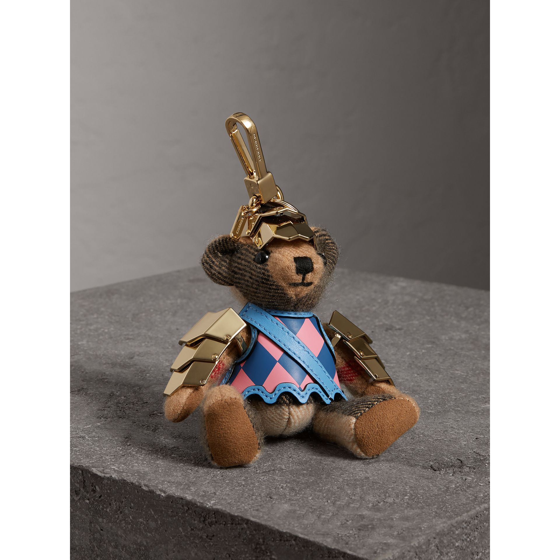 Thomas Bear Charm with Knight Armour Detail in Camel Check | Burberry - gallery image 1