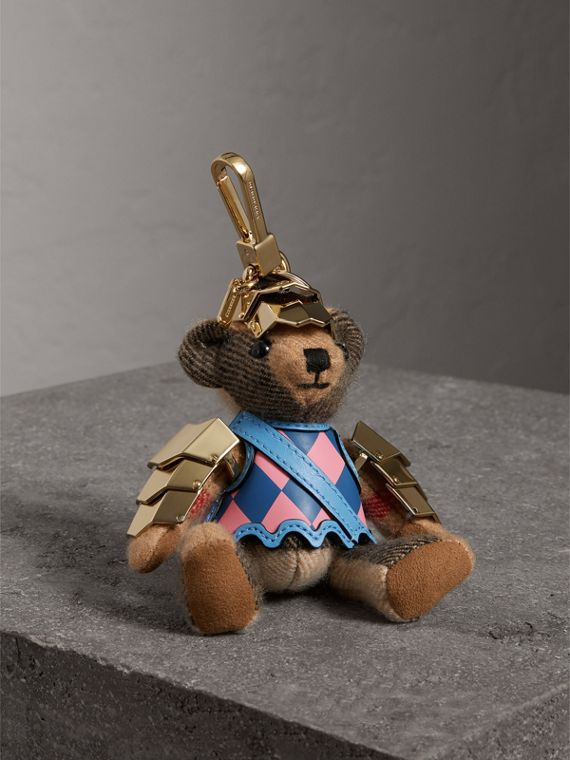 Thomas Bear Charm with Knight Armour Detail in Camel Check