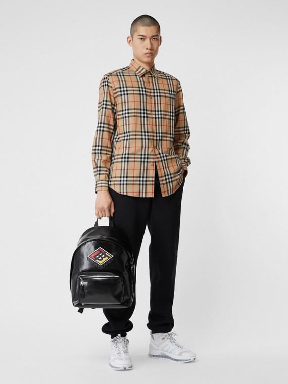 Camisa en franela de algodón a cuadros Vintage Checks (Beige)