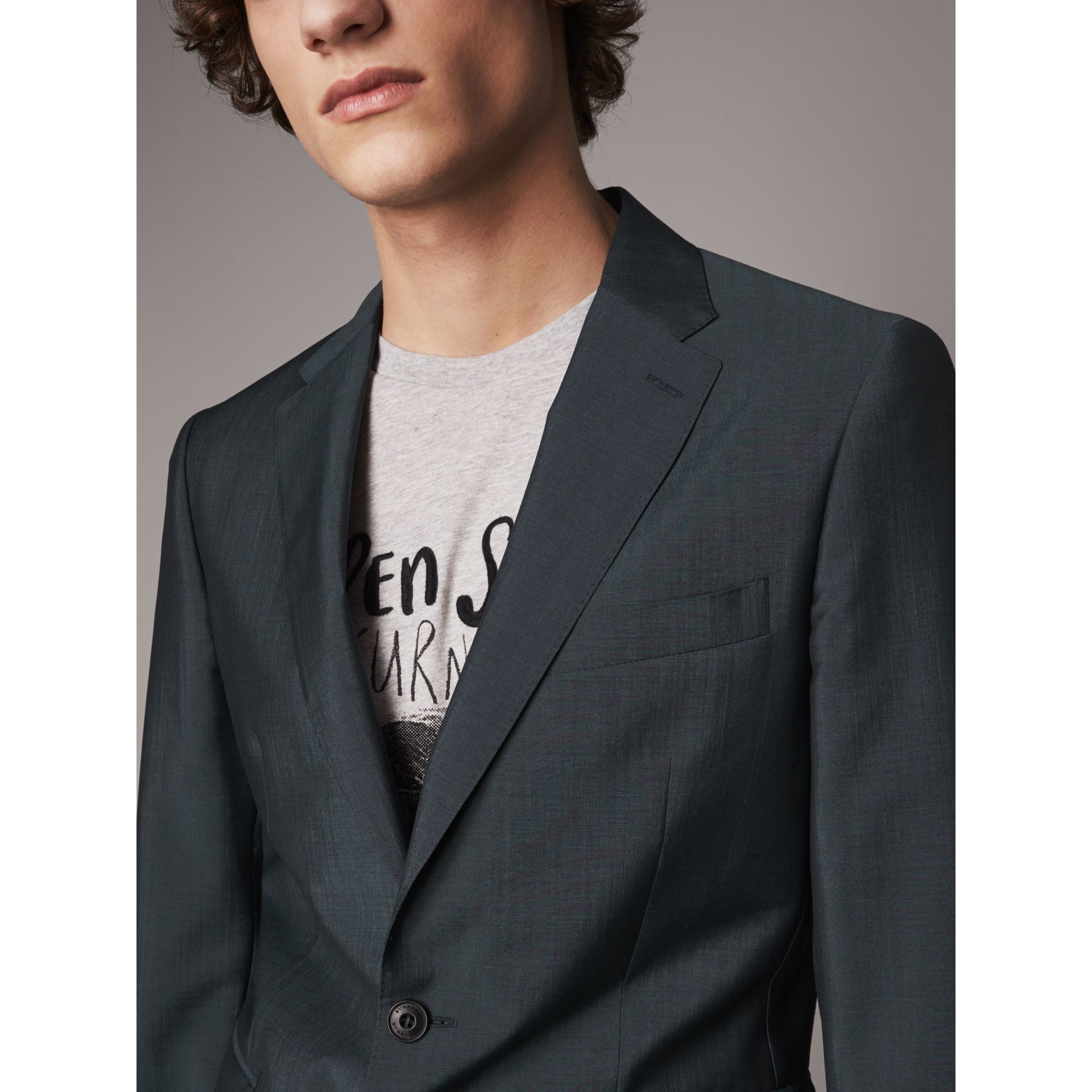 Soho Fit Wool Mohair Suit in Petrol Blue - Men | Burberry - gallery image 1