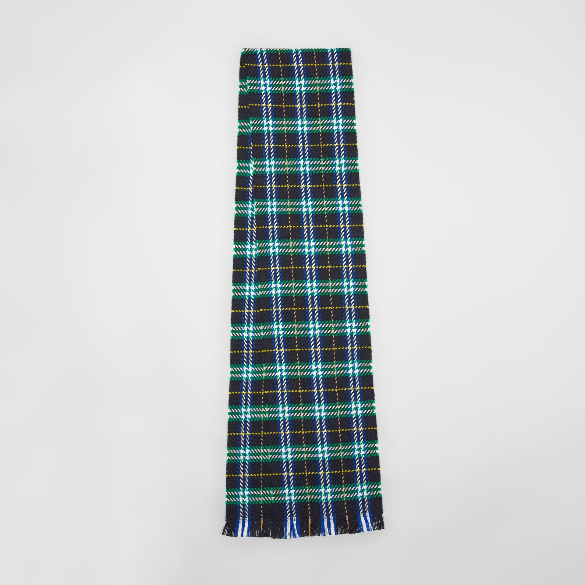 Check Merino Wool Scarf in Navy | Burberry - gallery image 0