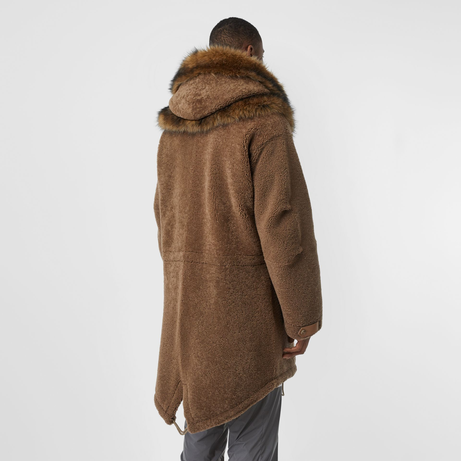 Shearling Parka with Detachable Hood and Jacket in Pale Coffee - Men | Burberry Australia - gallery image 1