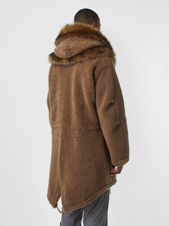 Shearling Parka with Detachable Hood and Jacket in Pale Coffee - Men | Burberry United Kingdom - cell image 1
