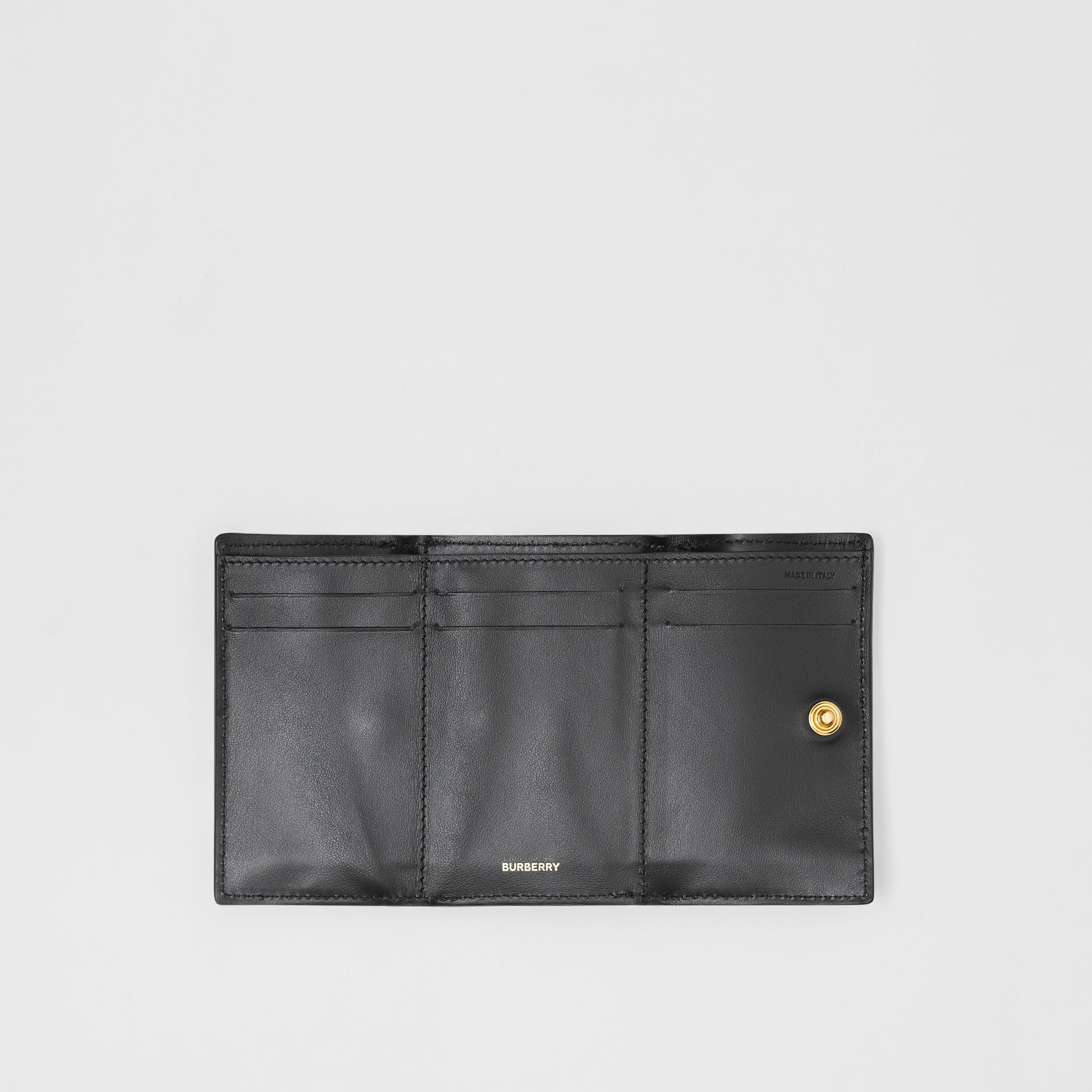 Small Vintage Check E-canvas Folding Wallet in Black - Women | Burberry - gallery image 5