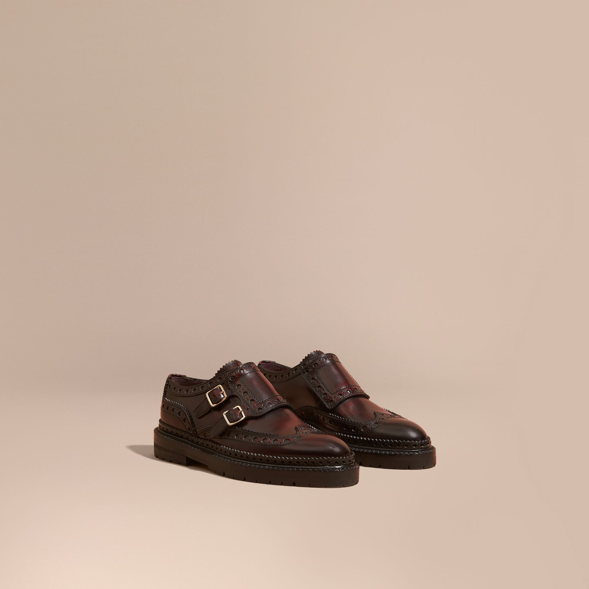 Bordeaux Leather Monk-strap Brogues - gallery image 1