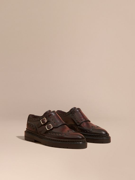 Brogue monk strap in pelle