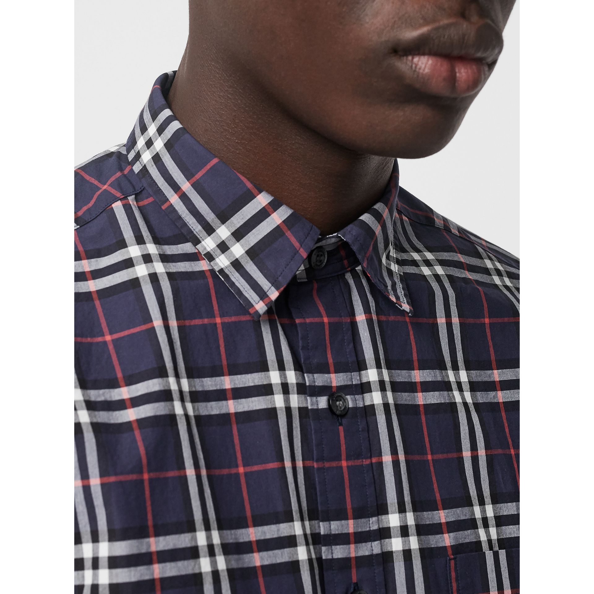 Short-sleeve Check Cotton Shirt in Navy - Men | Burberry United Kingdom - gallery image 1