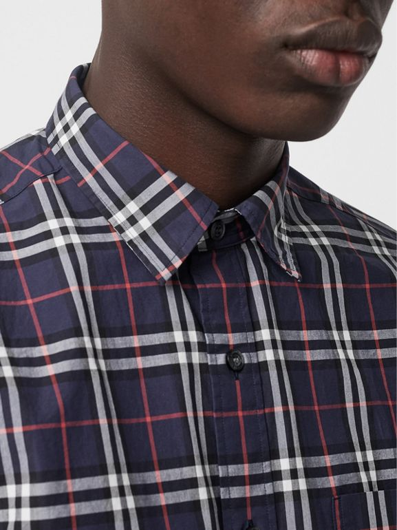 Short-sleeve Check Cotton Shirt in Navy - Men | Burberry United Kingdom - cell image 1