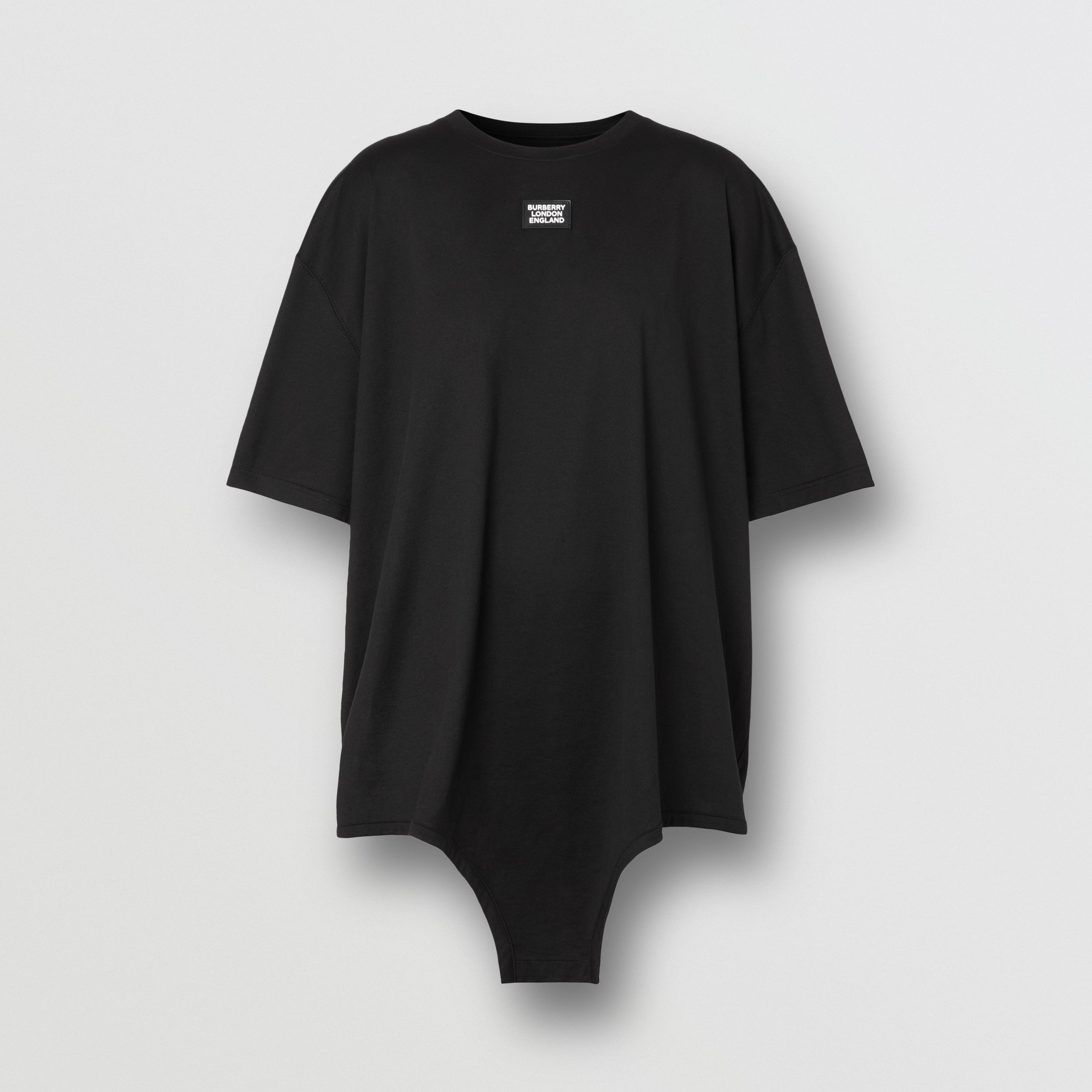 Cut-out Hem Logo Appliqué Cotton Oversized T-shirt in Black - Women | Burberry Canada - 4