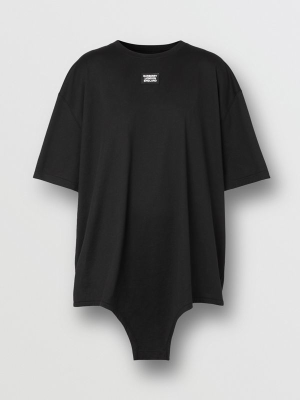 Cut-out Hem Logo Appliqué Cotton Oversized T-shirt in Black - Women | Burberry - cell image 3