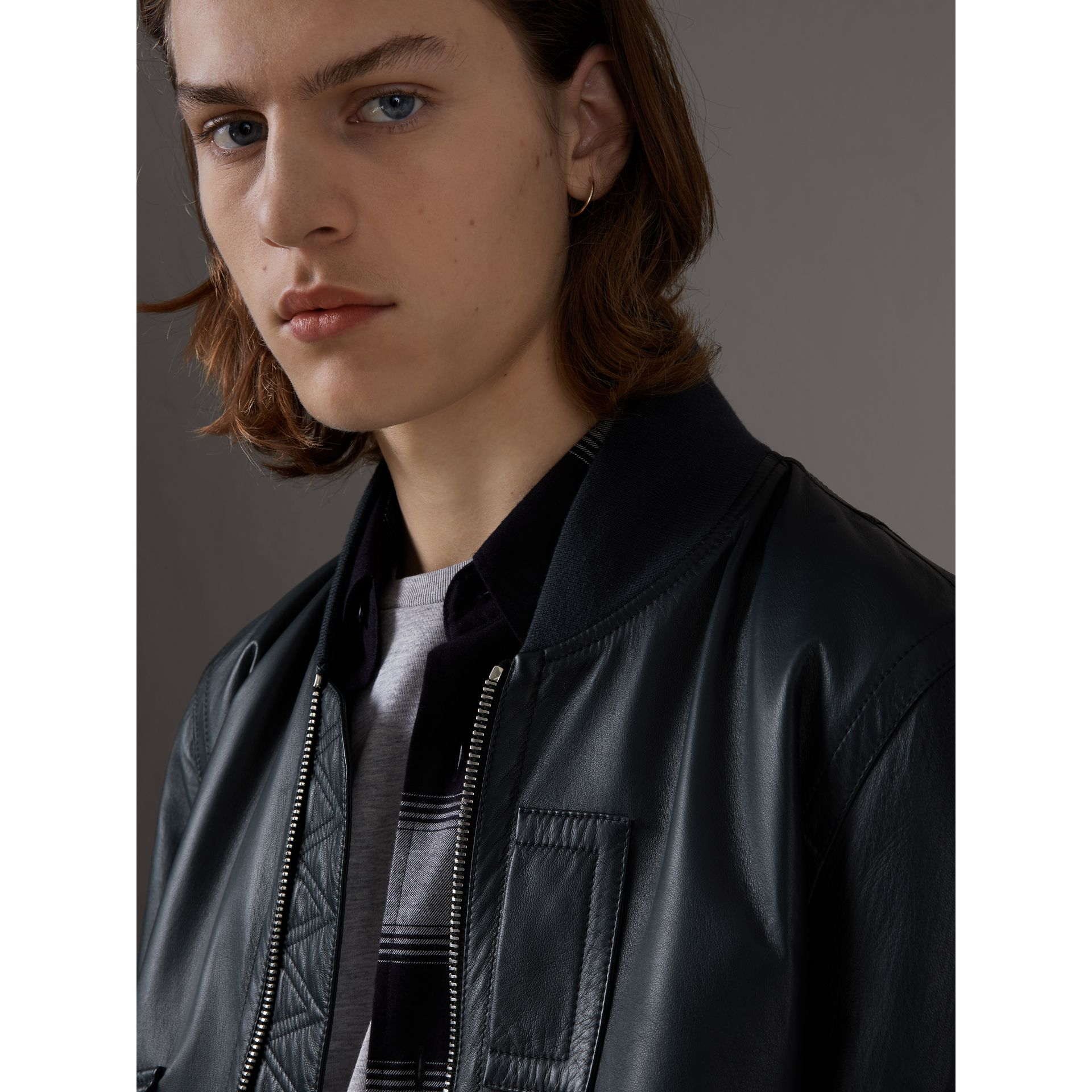 Lambskin Bomber Jacket in Navy - Men | Burberry United Kingdom - gallery image 1