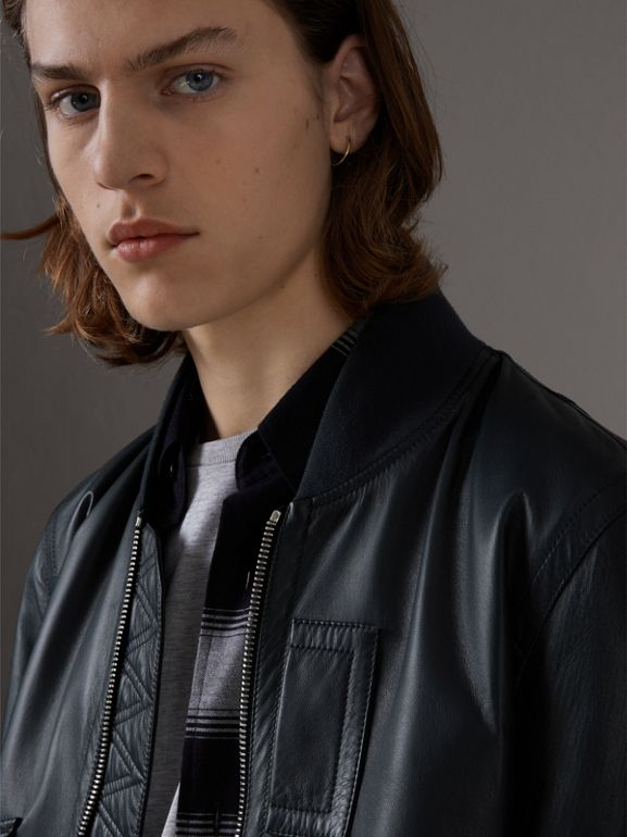 Lambskin Bomber Jacket in Navy - Men | Burberry Canada - cell image 1