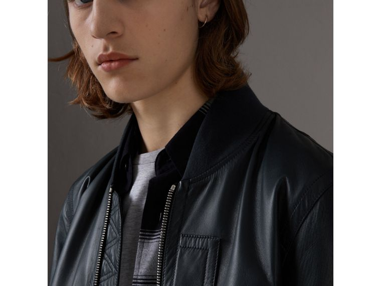 Lambskin Bomber Jacket in Navy - Men | Burberry United Kingdom - cell image 1