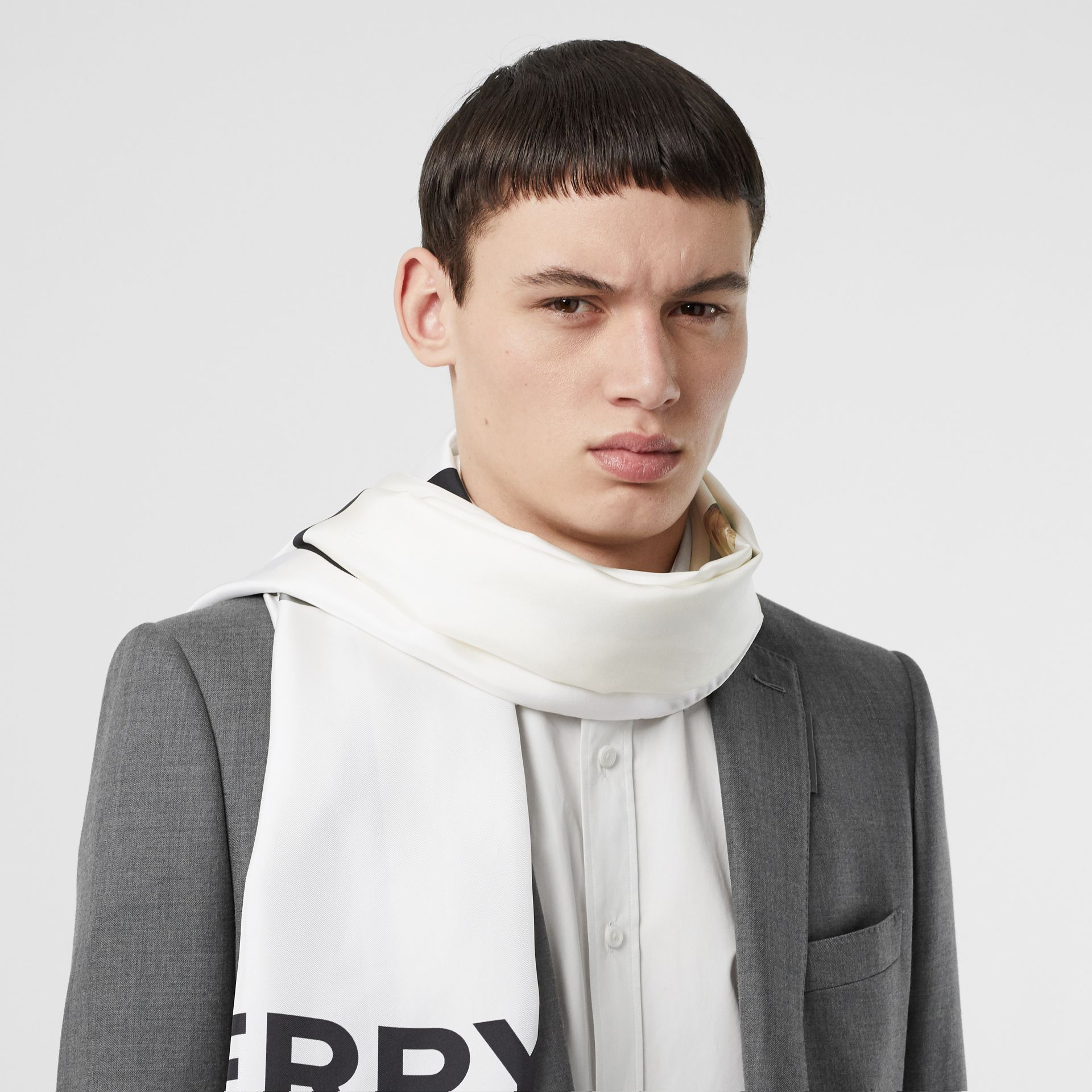 Montage and Logo Print Silk Scarf in Monochrome | Burberry - gallery image 3