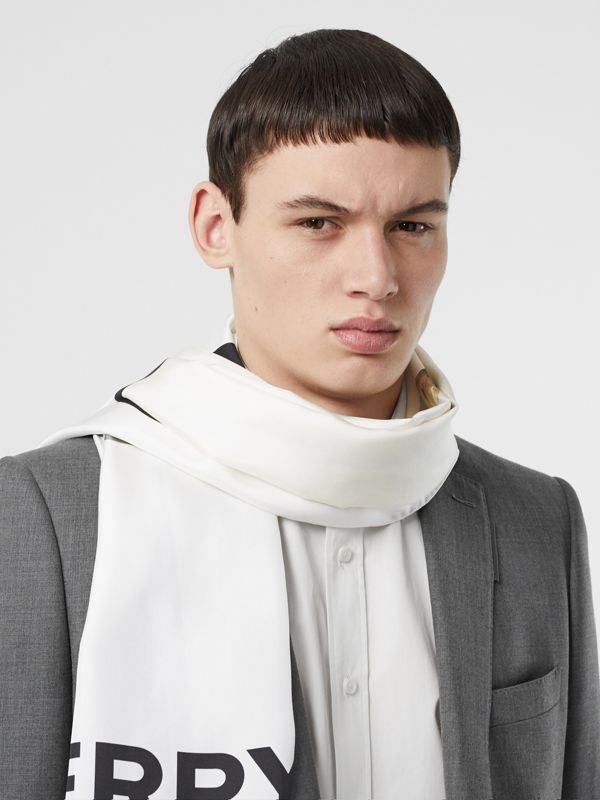 Montage and Logo Print Silk Scarf in Monochrome | Burberry - cell image 3