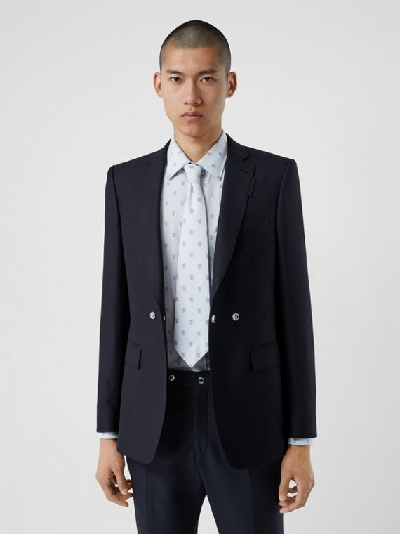 English Fit Triple Stud Wool Mohair Tailored Jacket in Midnight Blue