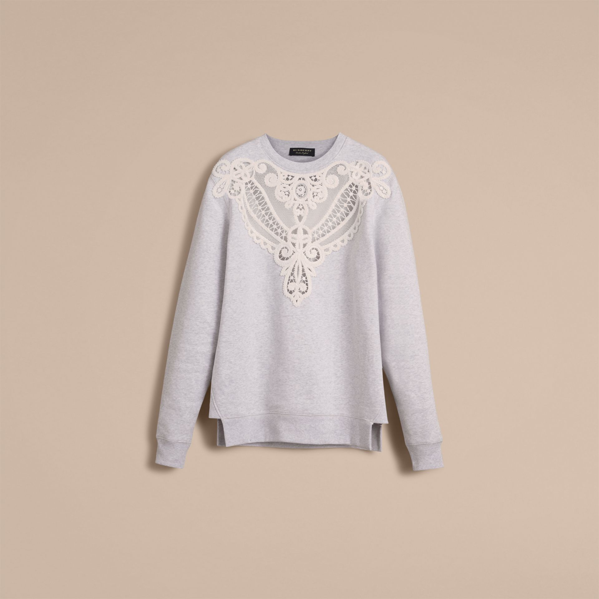 Unisex Lace Cutwork Sweatshirt in Light Grey Melange - Men | Burberry - gallery image 4