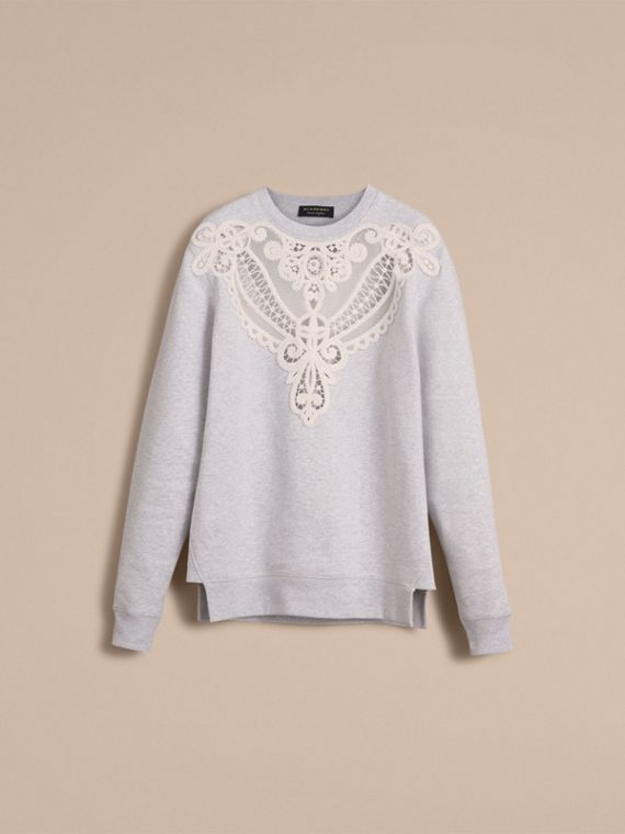 Unisex Lace Cutwork Sweatshirt in Light Grey Melange - Men | Burberry - cell image 3