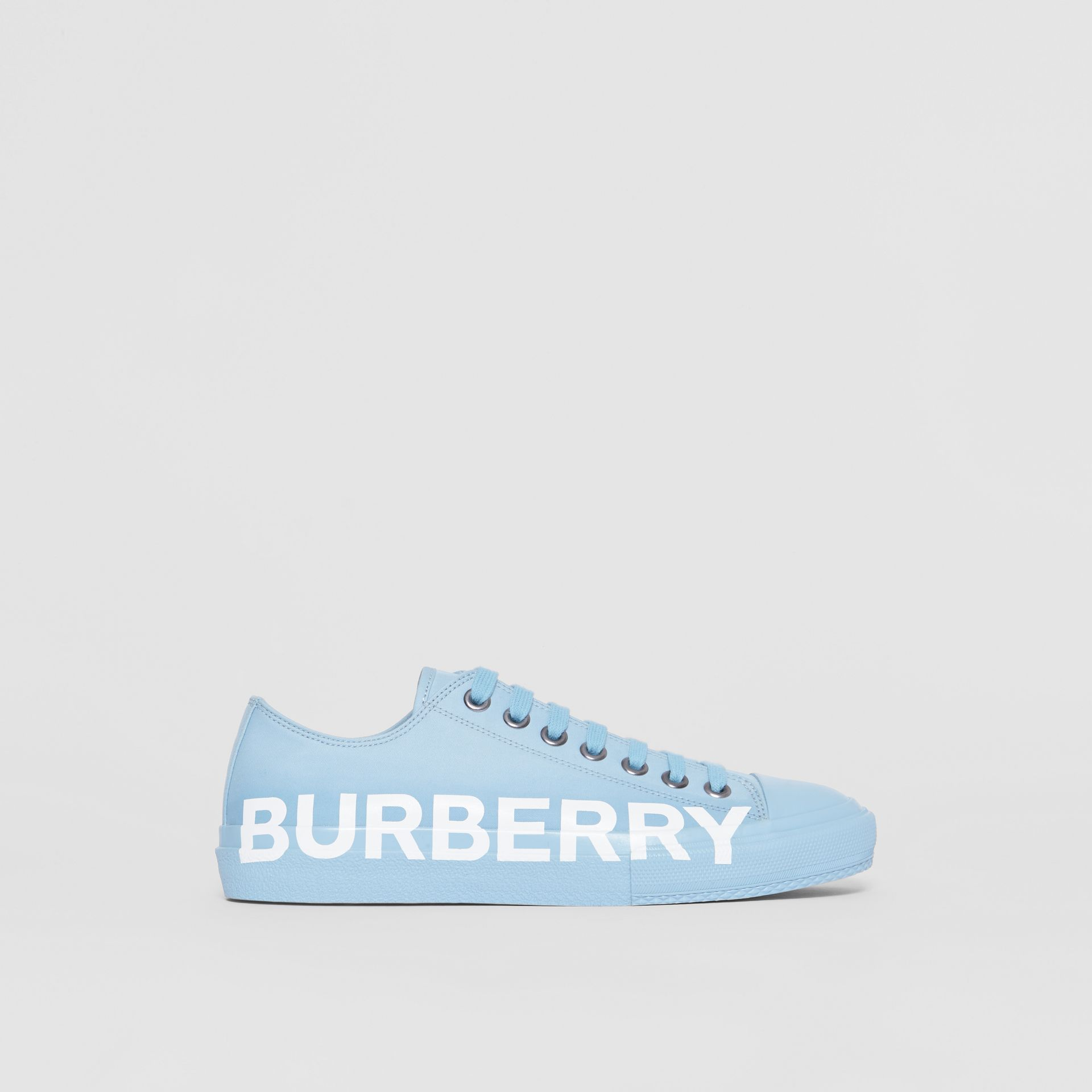 Logo Print Cotton Gabardine Sneakers in Blue Overdyed - Men | Burberry - gallery image 4