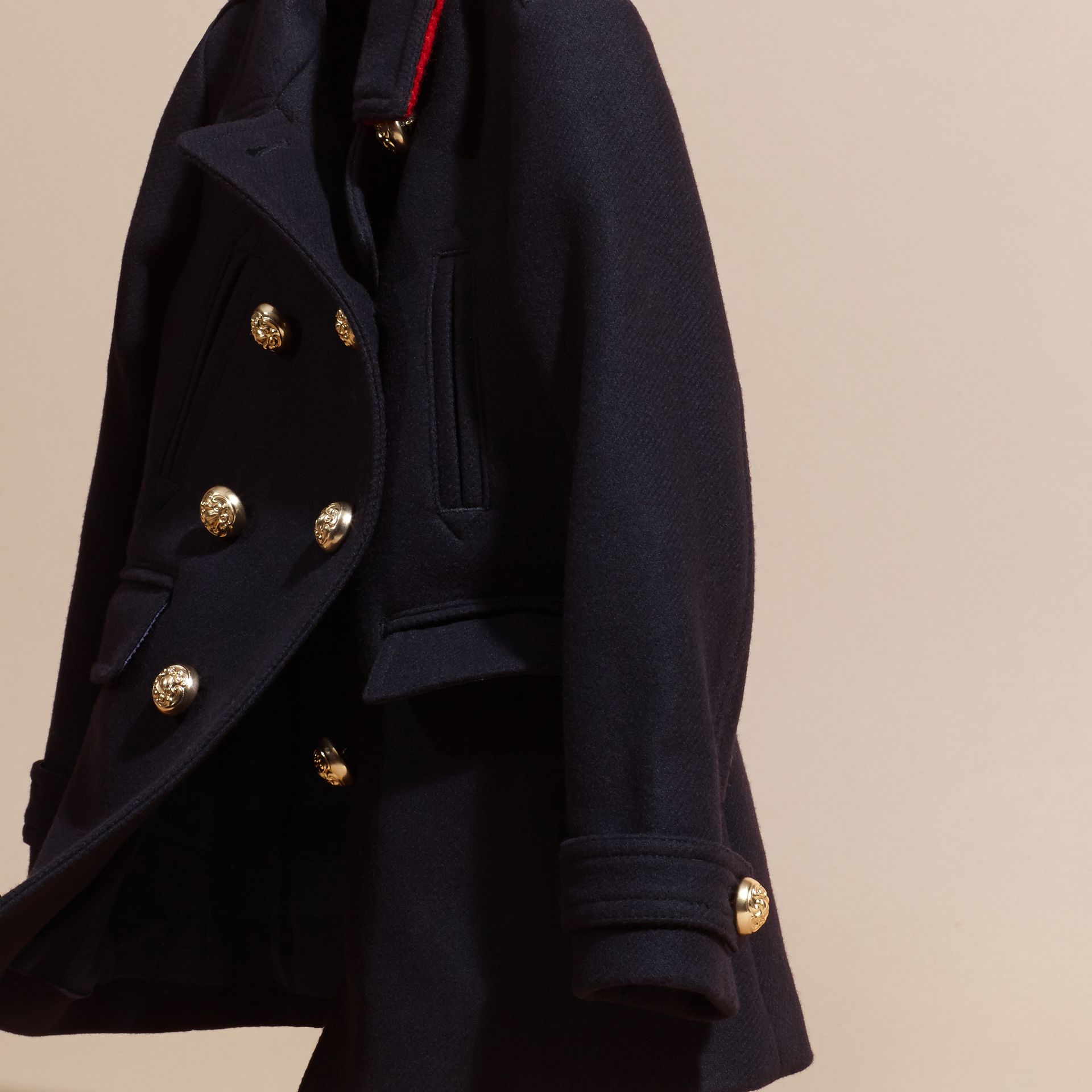 Navy Wool Cashmere Blend Military Pea Coat - gallery image 3