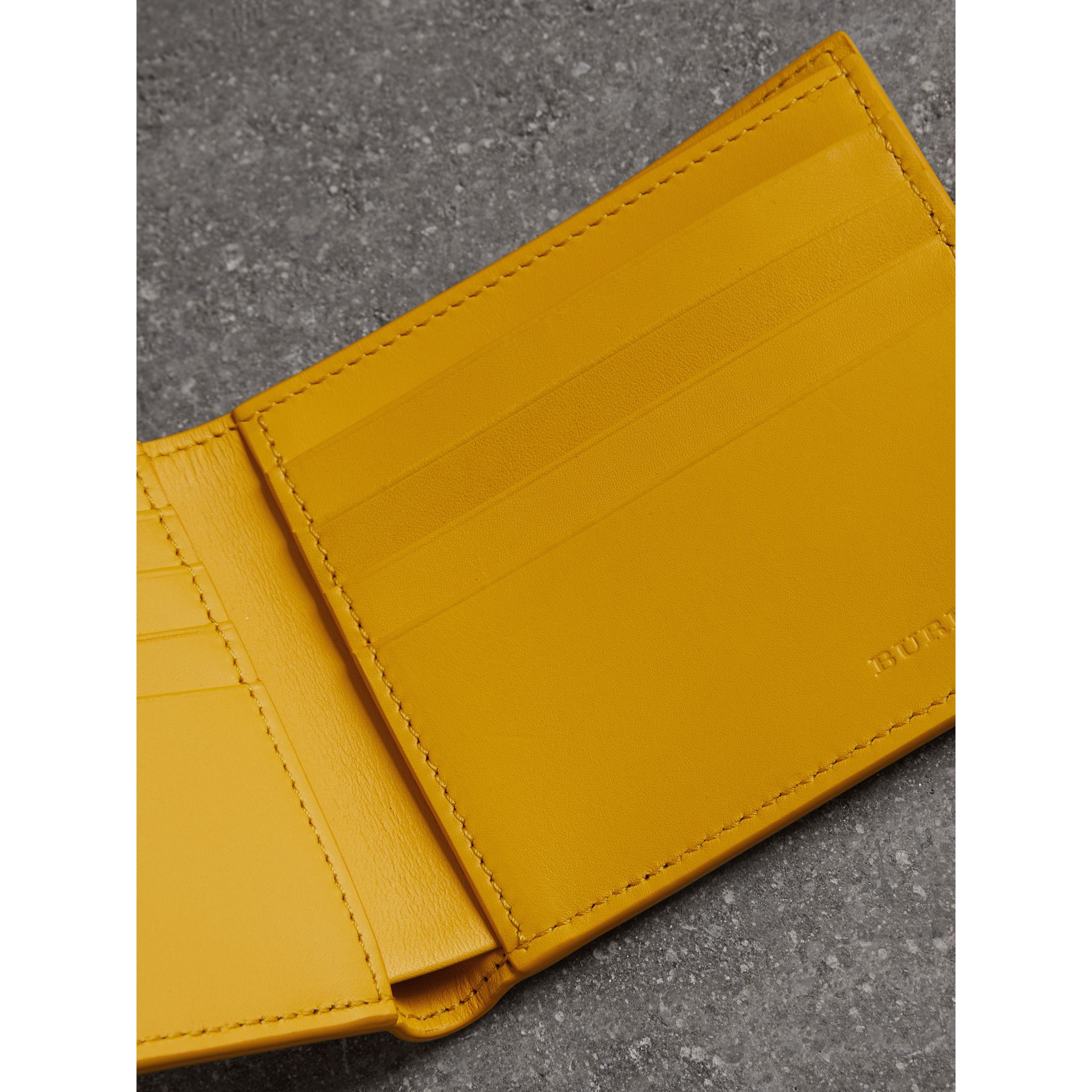 Grainy Leather International Bifold Wallet in Bright Ochre Yellow - Men | Burberry Australia - gallery image 3