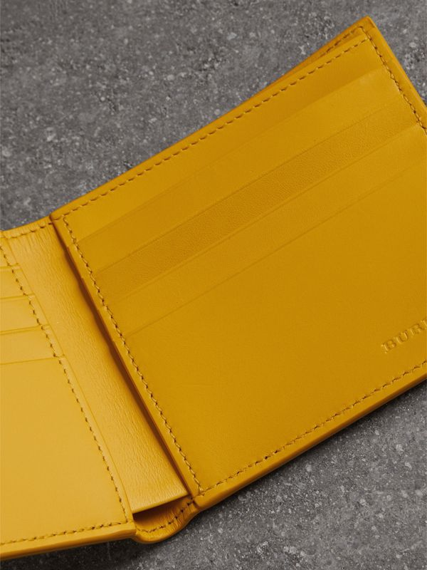 Grainy Leather International Bifold Wallet in Bright Ochre Yellow - Men | Burberry Hong Kong - cell image 3