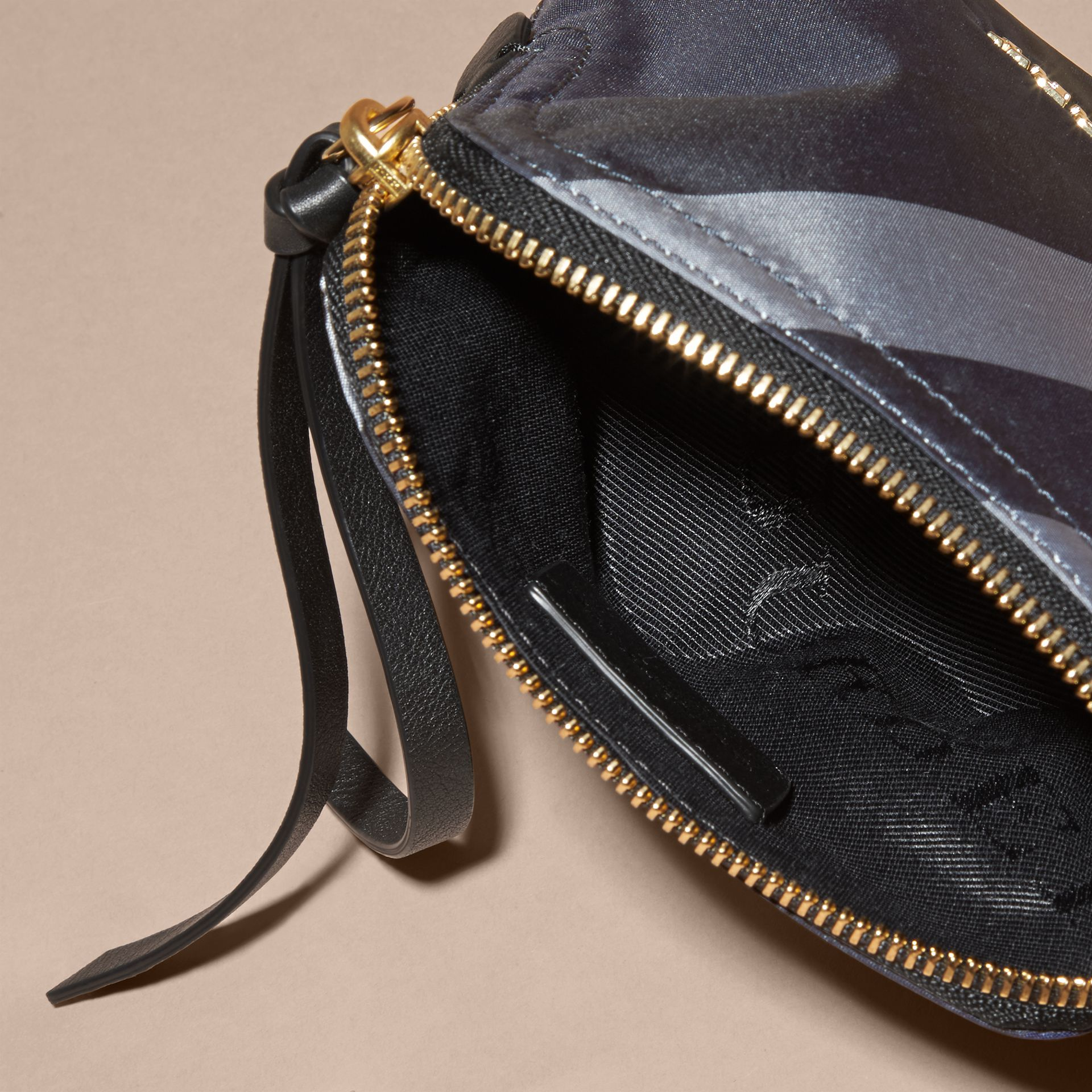 Small Zip-top Check Pouch in Indigo Blue - Women | Burberry Australia - gallery image 5