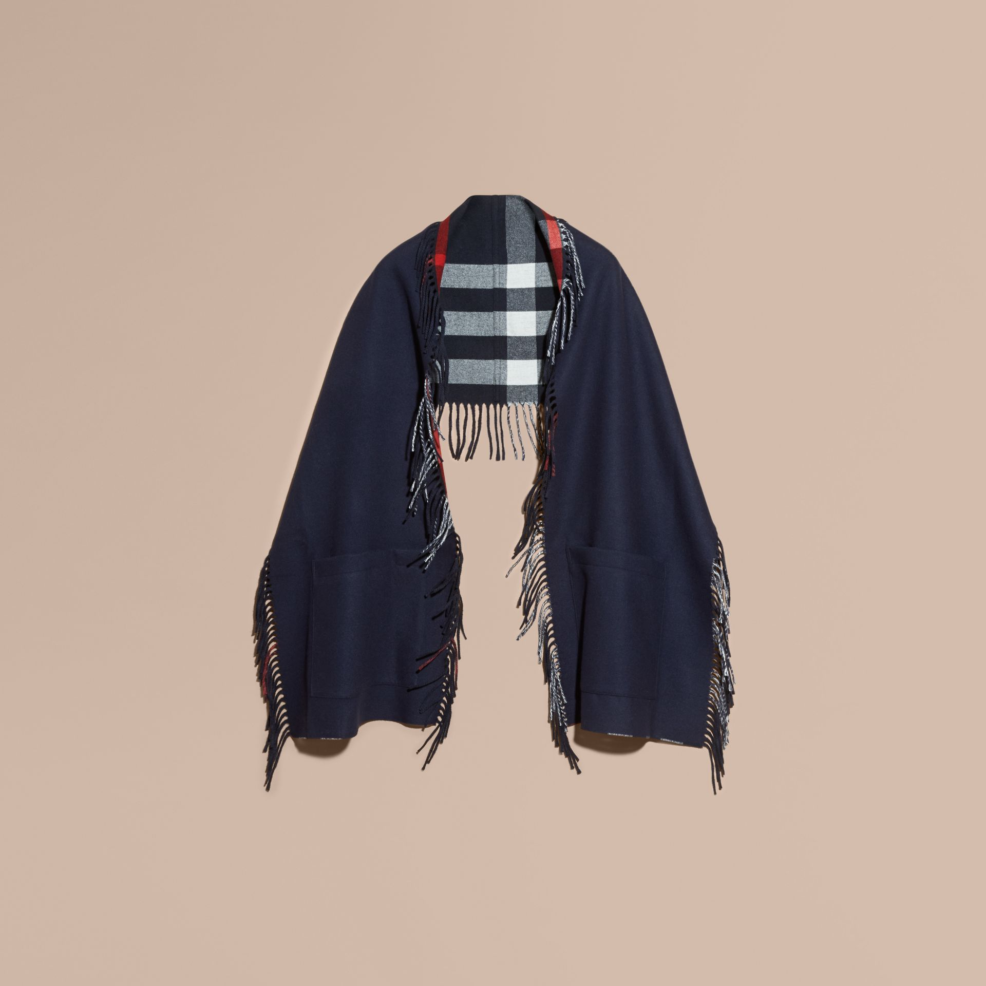 Fringed Cashmere Merino Wool Stole in Navy/indigo Blue - gallery image 4