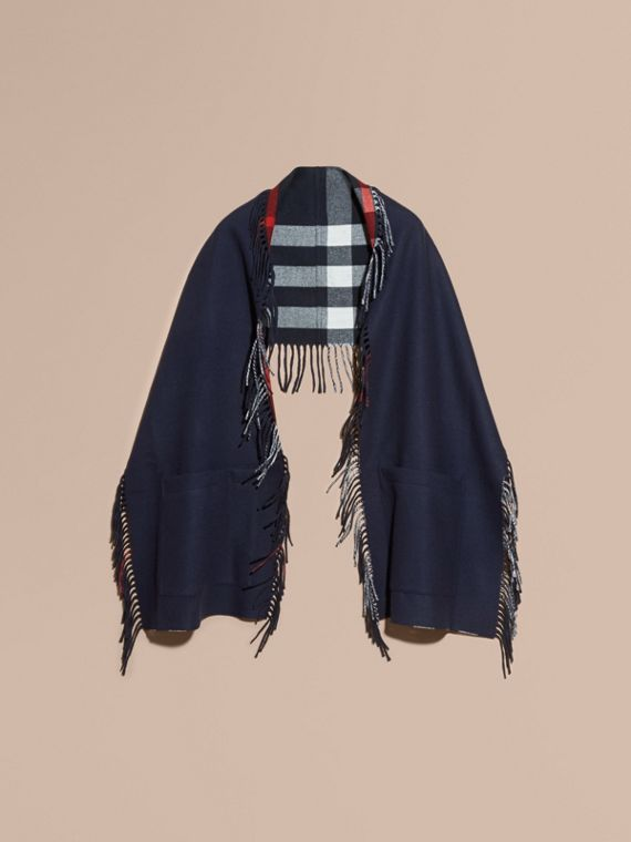 Fringed Cashmere Merino Wool Stole in Navy/indigo Blue - cell image 3