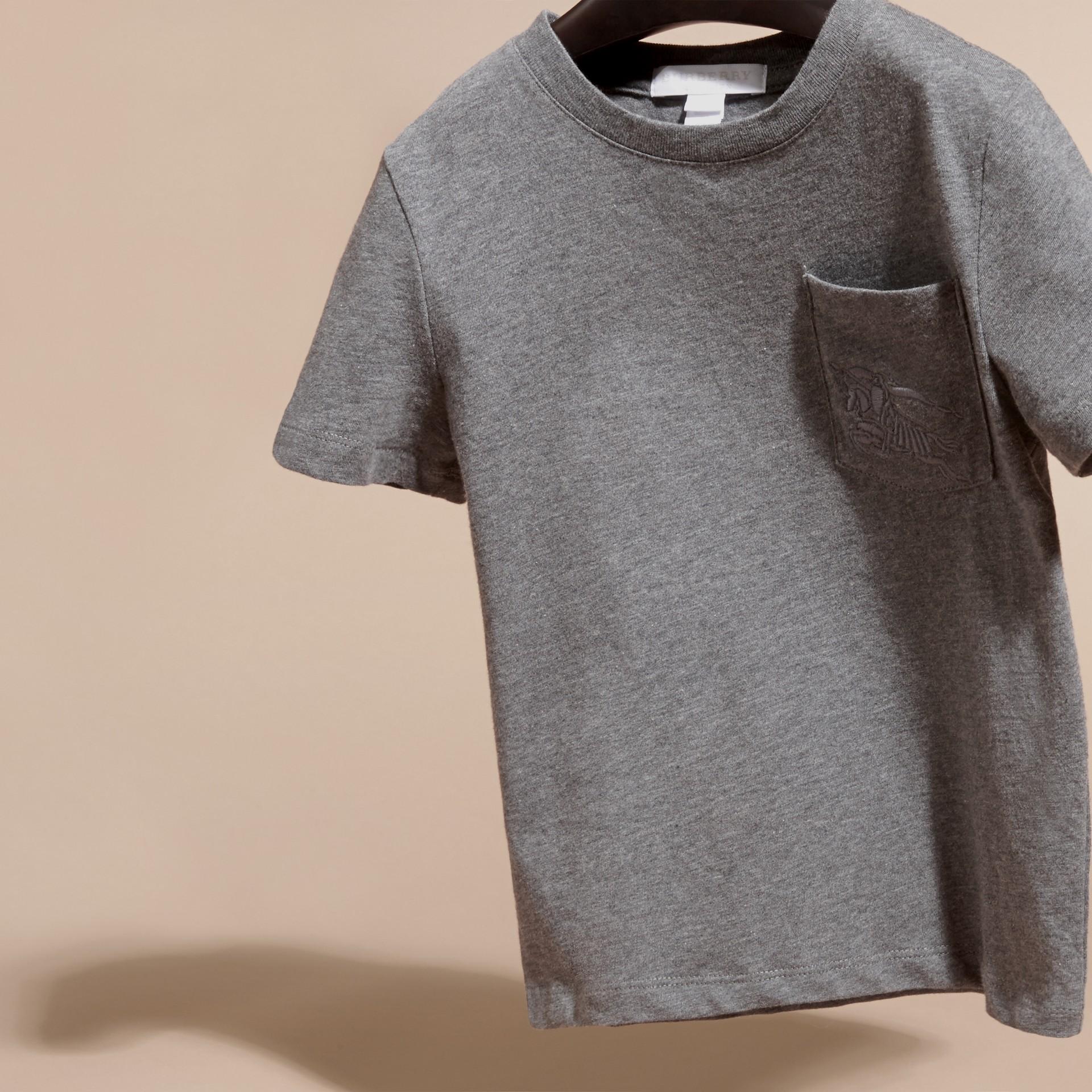 Nero fumo mélange T-shirt girocollo in cotone Nero Fumo Mélange - immagine della galleria 3