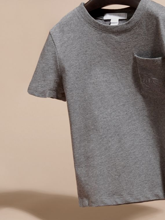 Nero fumo mélange T-shirt girocollo in cotone Nero Fumo Mélange - cell image 2