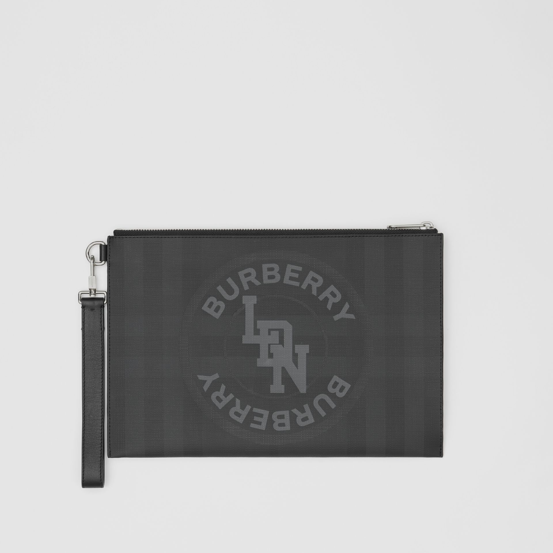 Logo Graphic London Check Zip Pouch in Dark Charcoal - Men | Burberry United States - gallery image 0