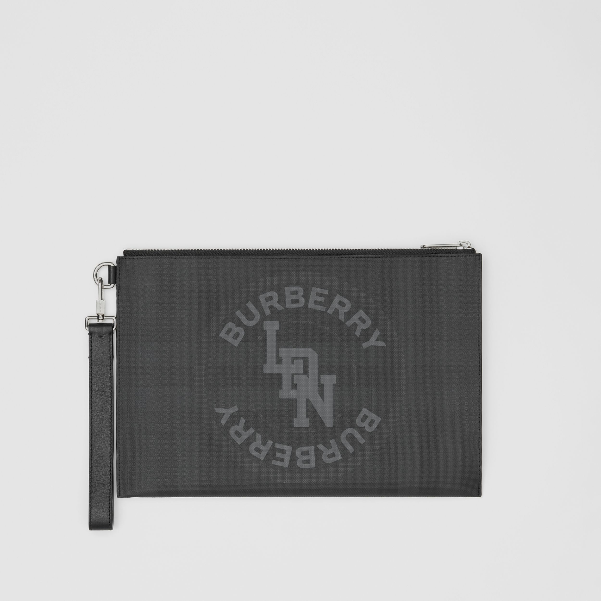 Logo Graphic London Check Zip Pouch in Dark Charcoal - Men | Burberry - 1