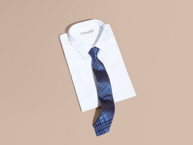Brilliant blue Modern Cut Check Jacquard Silk TIe Brilliant Blue - cell image 2