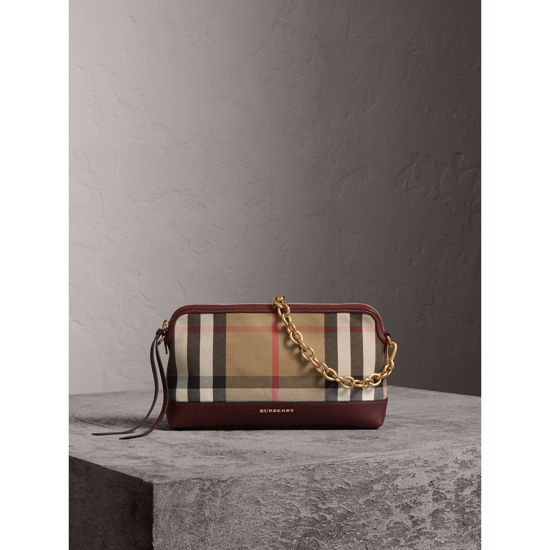 House Check and Leather Clutch Bag in Mahogany Red - Women | Burberry Canada - gallery image 1