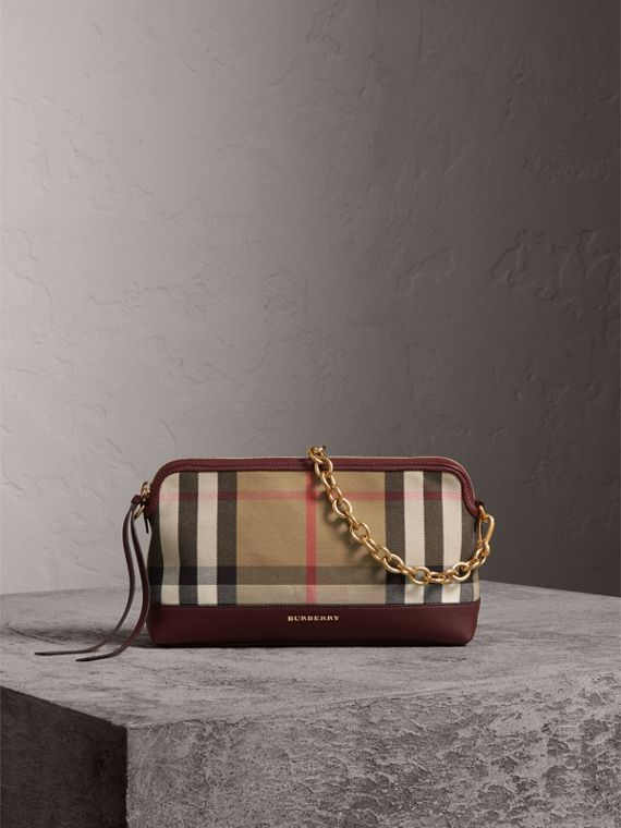 House Check and Leather Clutch Bag in Mahogany Red - Women | Burberry