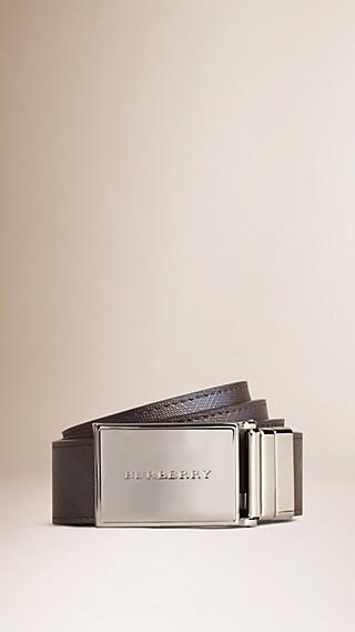 Cinto reversível de couro com padrão Smoked check
