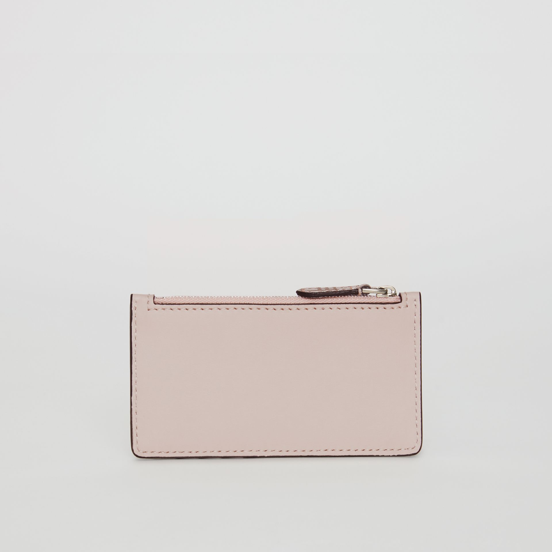 Small Scale Check and Leather Card Case in Pink - Women | Burberry Australia - gallery image 2