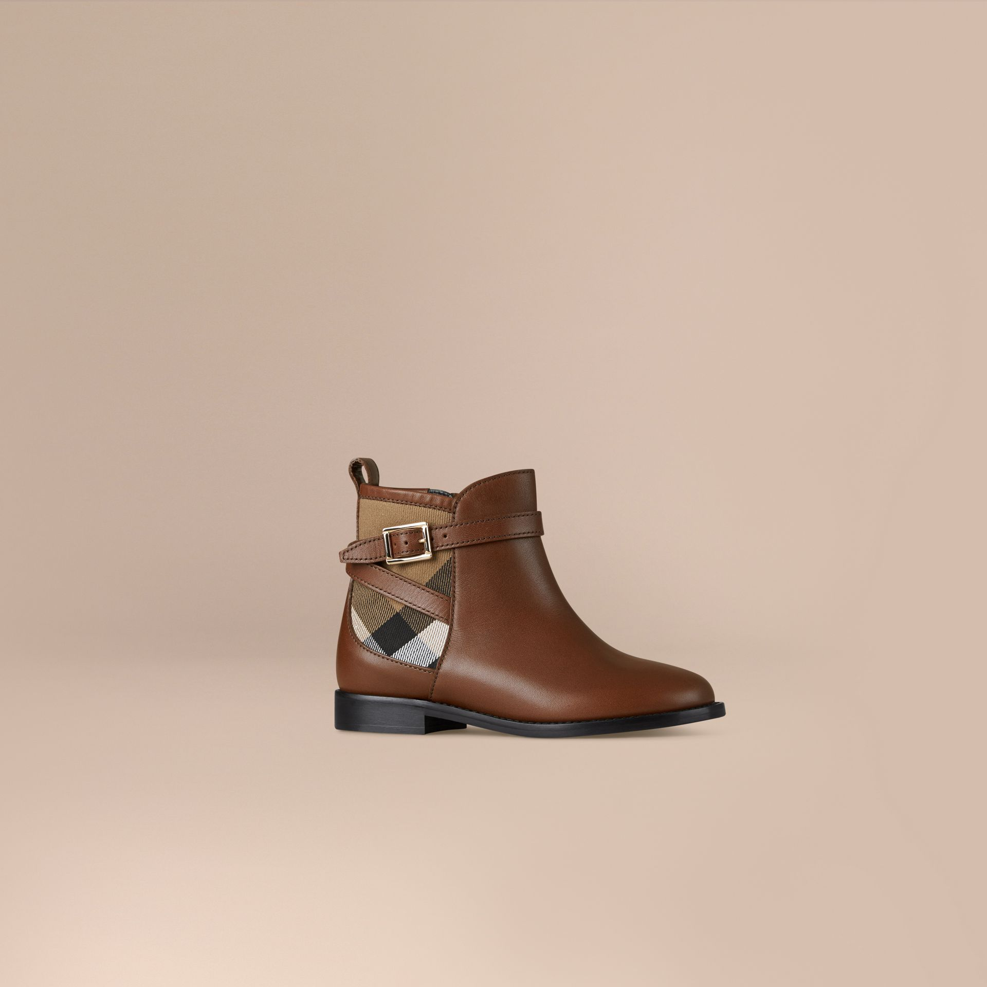 Chestnut House Check Panel Leather Ankle Boots Chestnut - gallery image 1