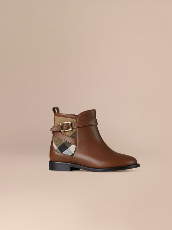 House Check Panel Leather Ankle Boots Chestnut