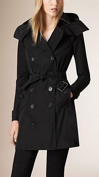 Trench-coat en taffetas à capuche amovible