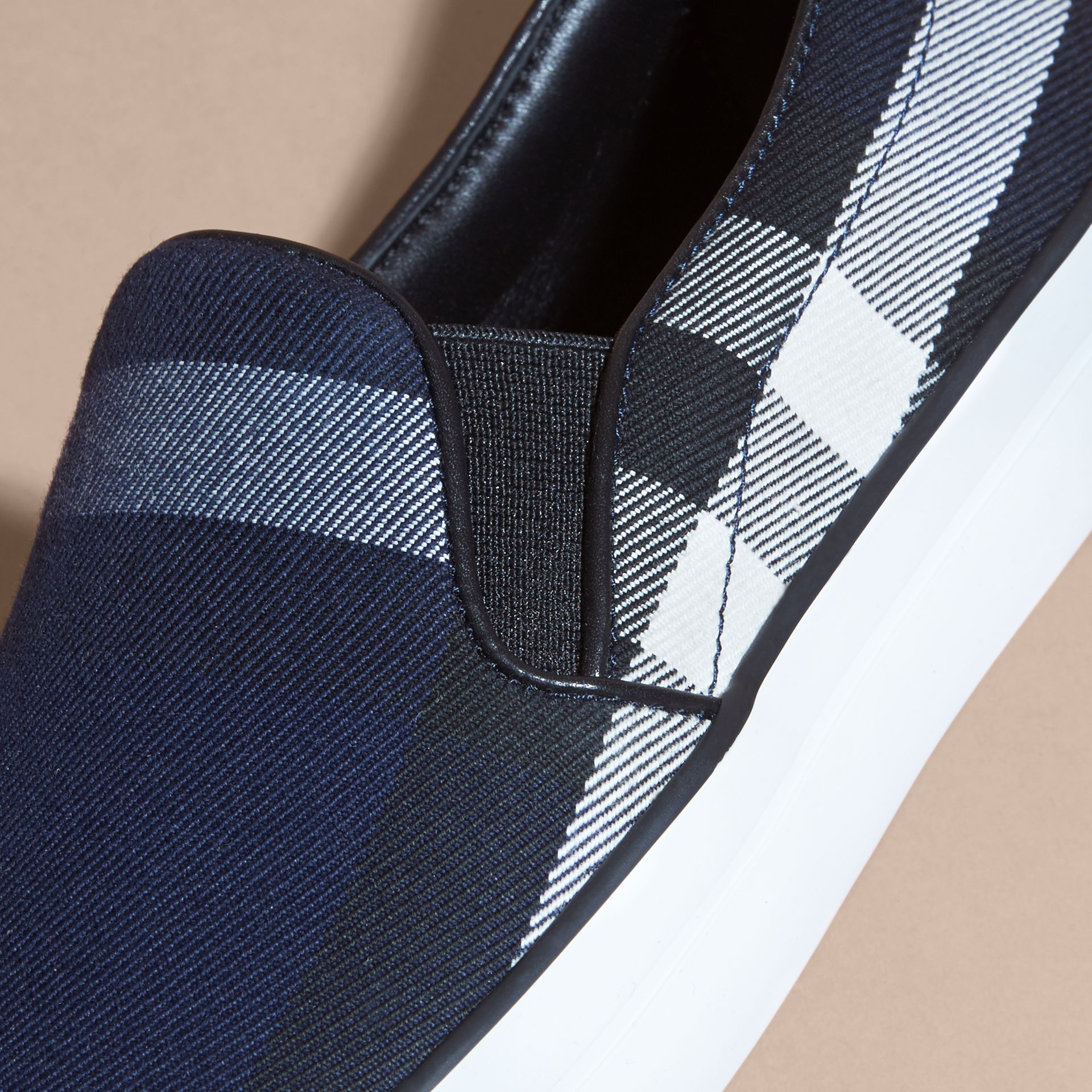 Overdyed House Check Cotton Slip-on Trainers in Indigo Blue - Women | Burberry - gallery image 2
