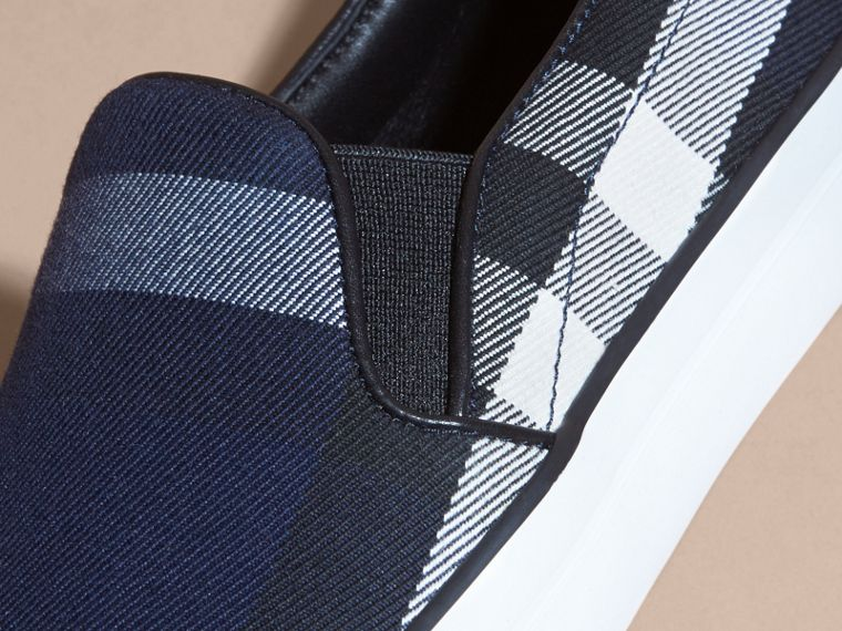 Overdyed House Check Cotton Slip-on Trainers in Indigo Blue - Women | Burberry - cell image 1