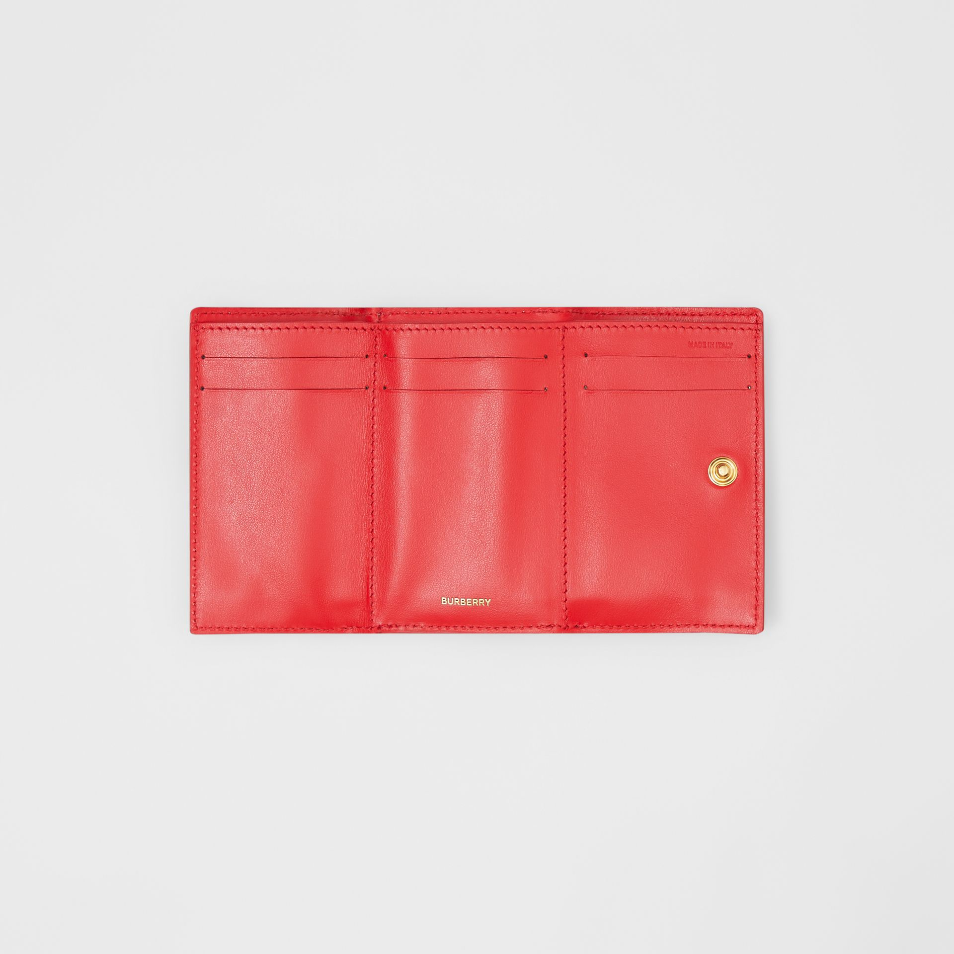 Small Vintage Check E-canvas Folding Wallet in Bright Military Red - Women | Burberry - gallery image 5