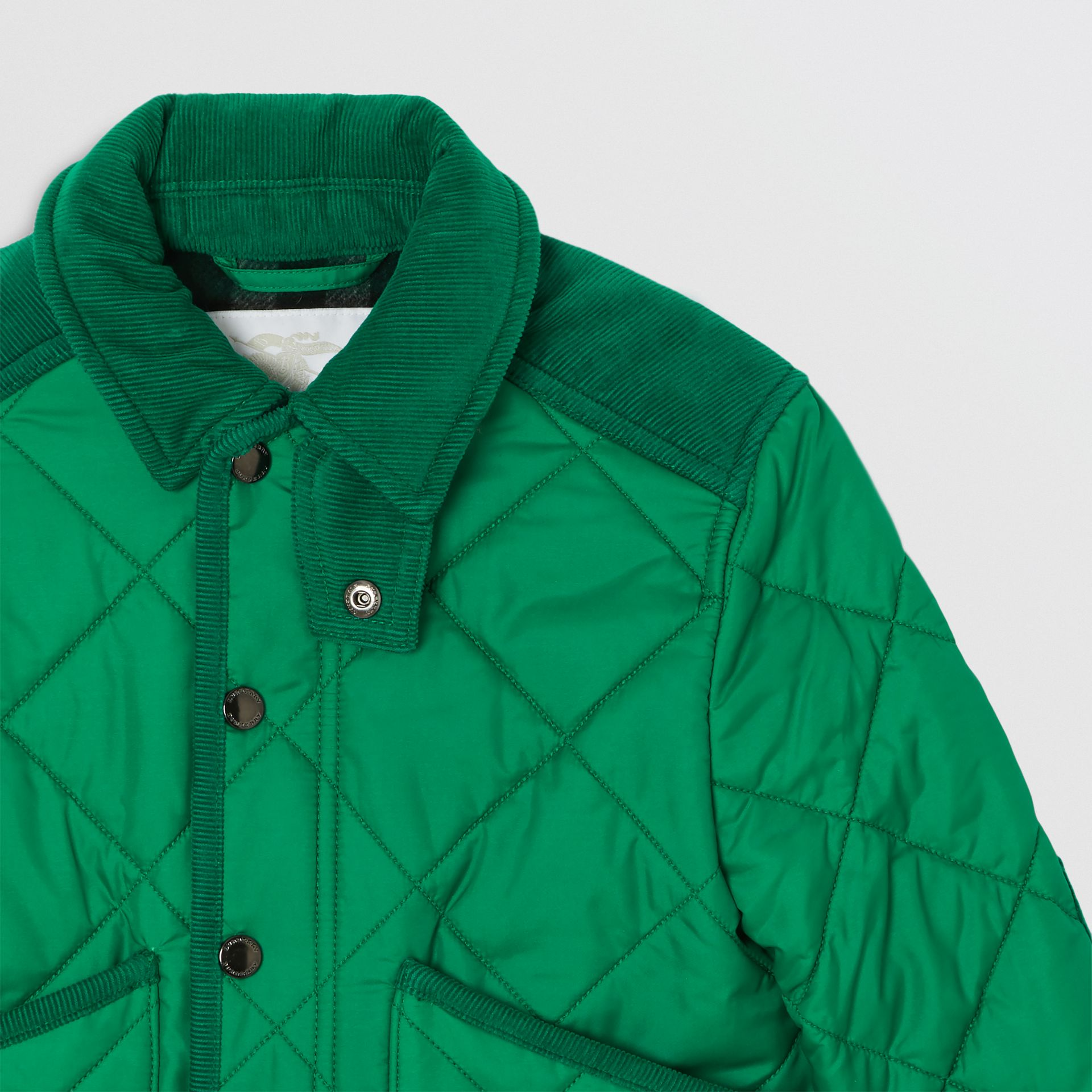 Corduroy Trim Diamond Quilted Jacket in Vibrant Green | Burberry - gallery image 5
