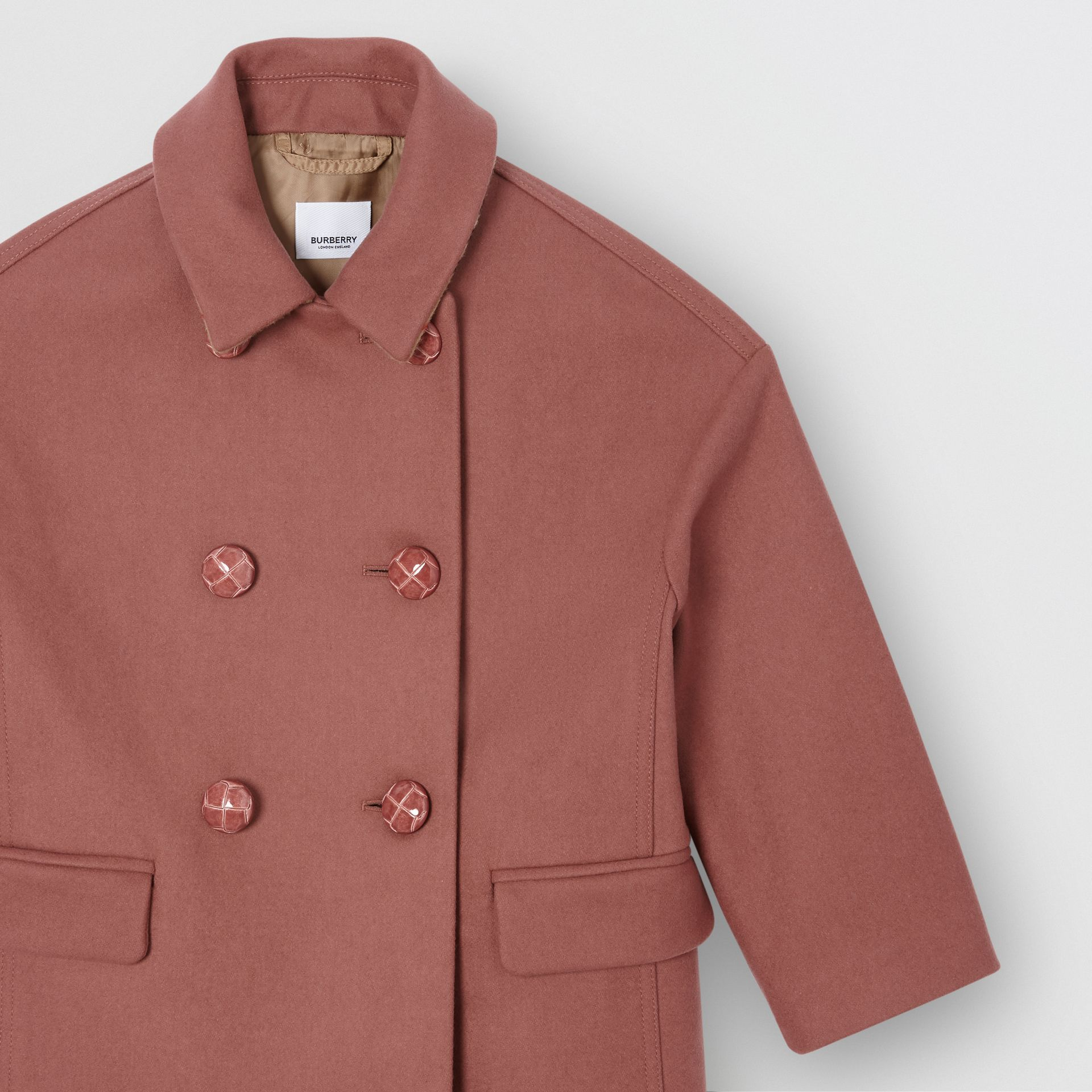 Melton Wool Tailored Pea Coat in Heather Pink | Burberry Australia - gallery image 4