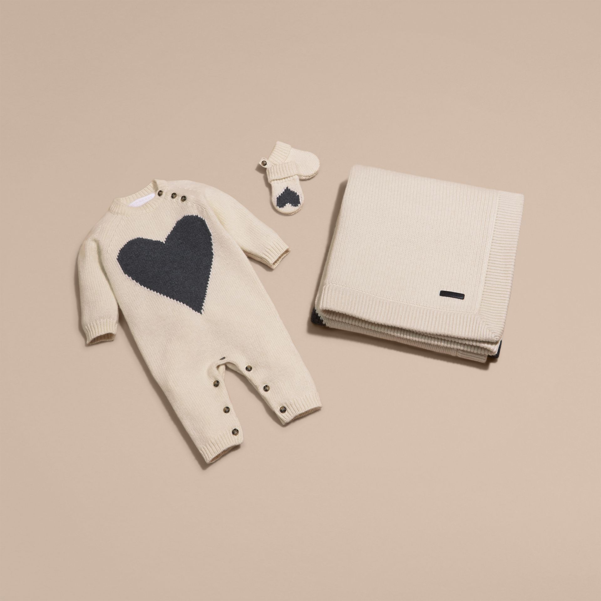 Heart Intarsia Cashmere Jumpsuit in Natural White | Burberry - gallery image 5